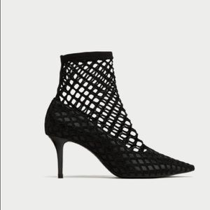 NWT Black Fishnet High Heel  Ankle Boots .